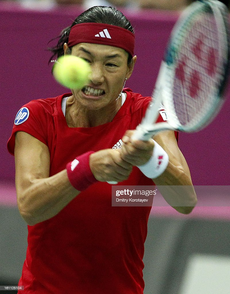 Kimiko Date-Krumm of Japan returns the ball against Maria Kirilenko of Russia during day one of the Federation Cup 2013 World Group Quarterfinal match between Russia and Japan at Olympic Stadium on February 09, 2013 in Moscow, Russia.