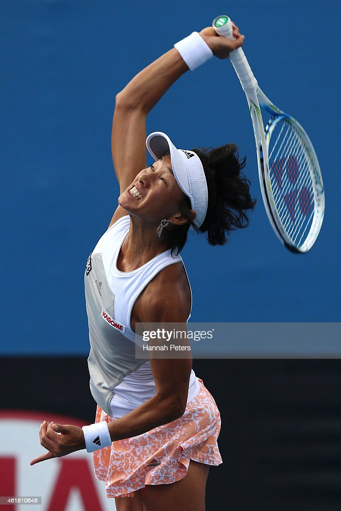 Kimiko DateKrumm of Japan serves in her first round match against Anna Tatishvili of the United States during day two of the 2015 Australian Open at...