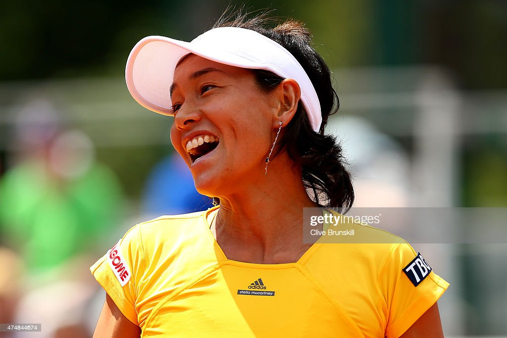 Kimiko DateKrumm of Japan smiles during her Women's Doubles match with Francesca Schiavone of Italy against Petra Cetkovska of Czech Republic and...