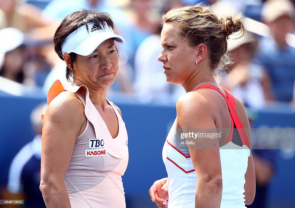 Kimiko DateKrumm of Japan with her partner Barbora Zahlavora Strycova of Czech Republic play Ekaterina Makarova and Elena Vesnina of Russia in their...