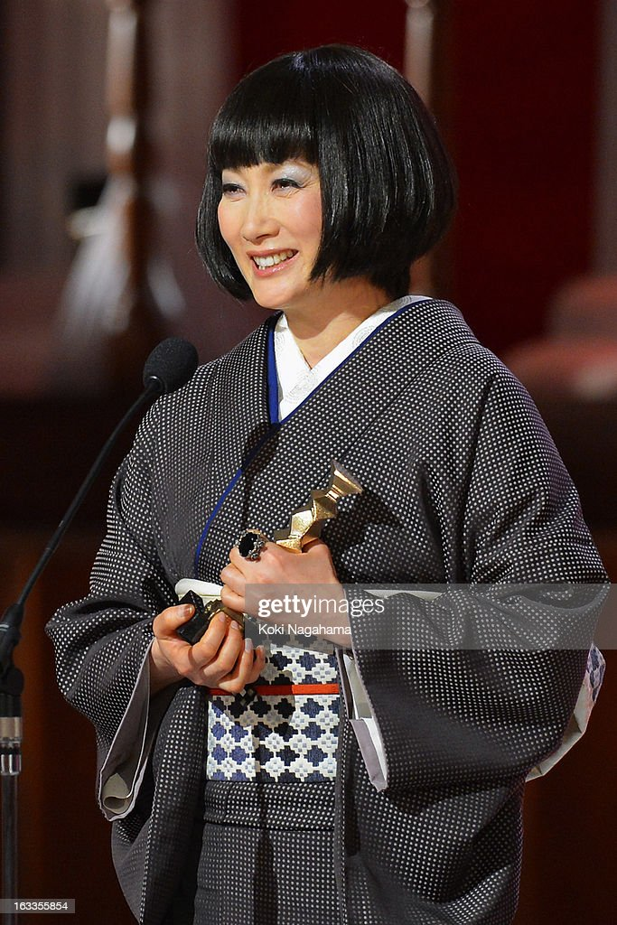 Kimiko Yo accepts Best Actress in a Supporting Role Award during the 36th Japan Academy Prize Award Ceremony at Grand Prince Hotel Shin Takanawa on March 8, 2013 in Tokyo, Japan.