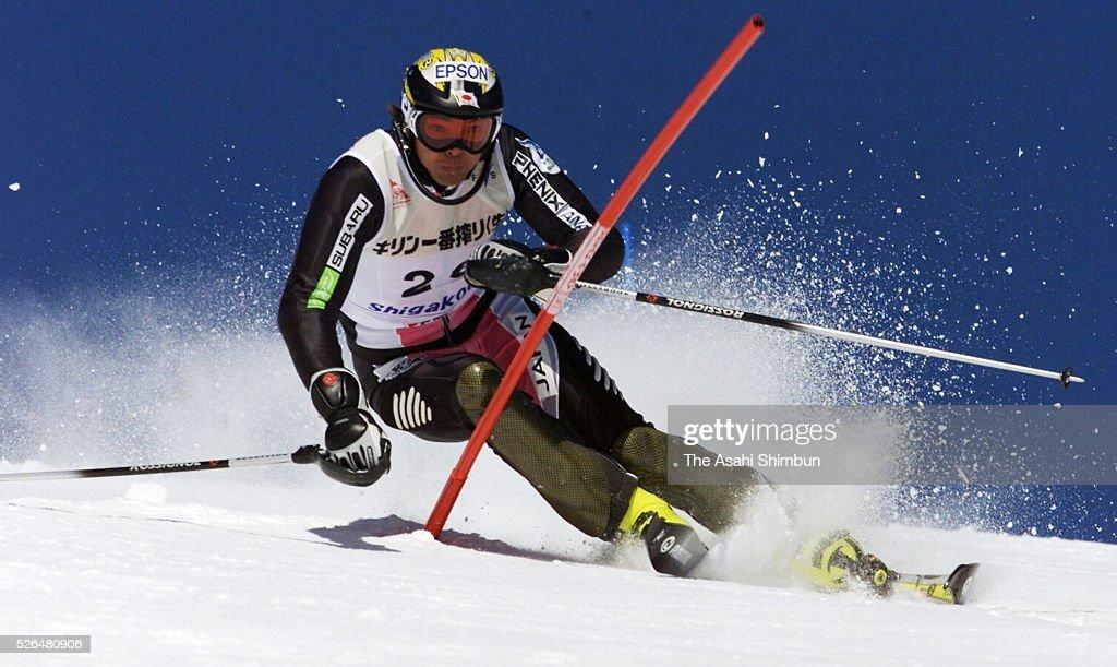 Kiminobu Kimura of Japan competes during the Men's Slalom of the FIS Alpine Skiing World Cup Shigakogen on February 17 2001 in Yamanouchi Nagano Japan