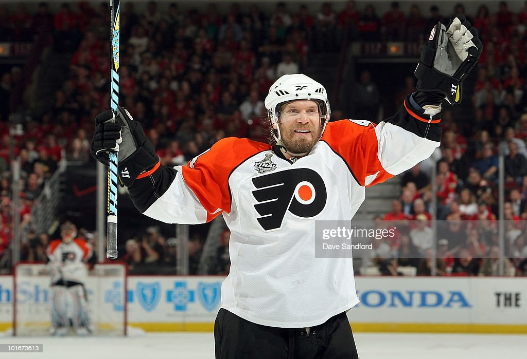 Kimmo Timonen #44 of the Philadelphia Flyers celebrates a goal scored by teammate James van Riemsdyk #21 during the third period of Game Five of the 2010 NHL Stanley Cup Finals against the Chicago Blackhawks at United Center on June 6, 2010 in Chicago, Illinois.