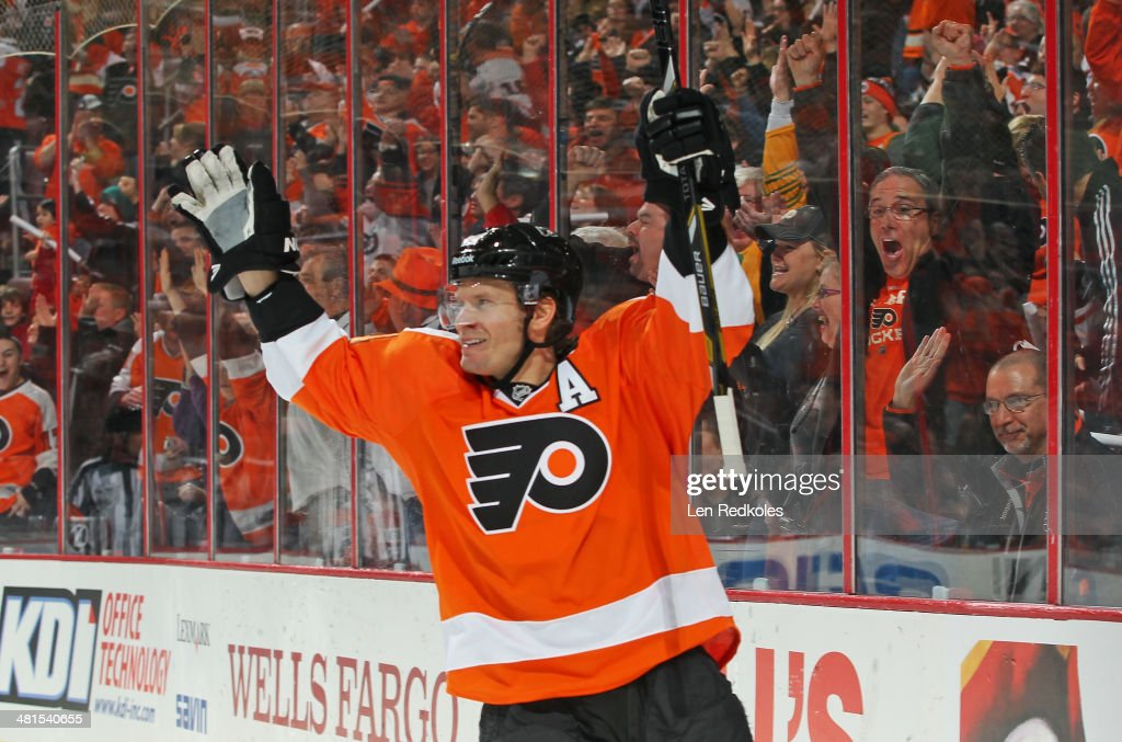 Kimmo Timonen of the Philadelphia Flyers celebrates his first period goal against the Boston Bruins on March 30 2014 at the Wells Fargo Center in...