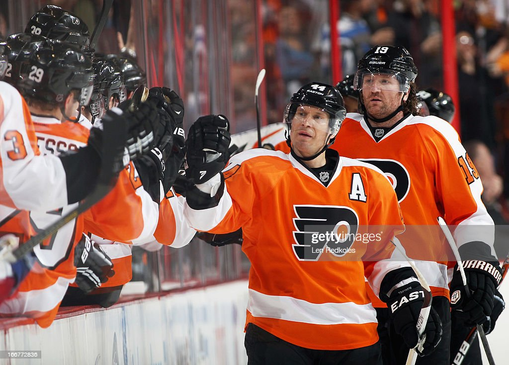 <a gi-track='captionPersonalityLinkClicked' href=/galleries/search?phrase=Kimmo+Timonen&family=editorial&specificpeople=201521 ng-click='$event.stopPropagation()'>Kimmo Timonen</a> #44 of the Philadelphia Flyers celebrates his second period goal against the New York Rangers with his teammates on April 16, 2013 at the Wells Fargo Center in Philadelphia, Pennsylvania.