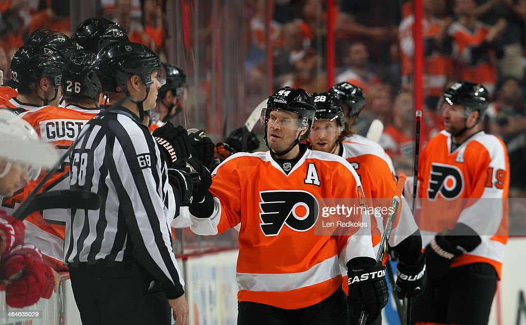 Kimmo Timonen #44 of the Philadelphia Flyers celebrates his second period power-play goal against the Carolina Hurricanes with his bench on April 13, 2014 at the Wells Fargo Center in Philadelphia, Pennsylvania.