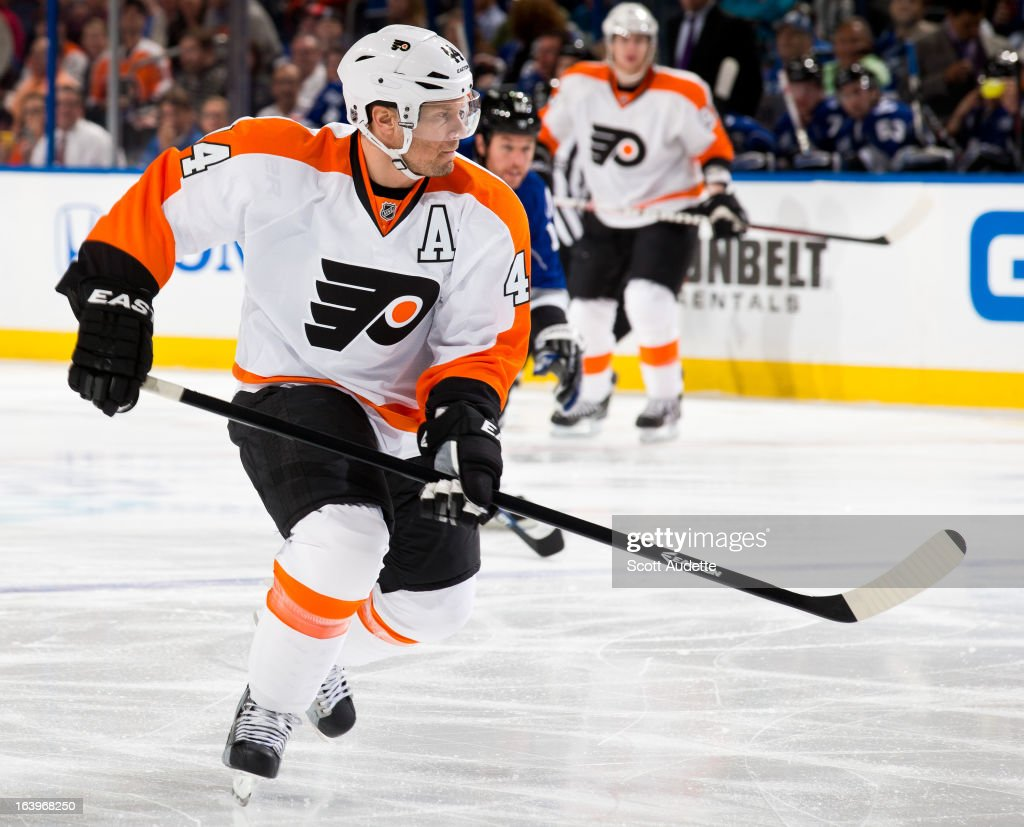 <a gi-track='captionPersonalityLinkClicked' href=/galleries/search?phrase=Kimmo+Timonen&family=editorial&specificpeople=201521 ng-click='$event.stopPropagation()'>Kimmo Timonen</a> #44 of the Philadelphia Flyers controls the puck during the first period of the game against the Tampa Bay Lightning at the Tampa Bay Times Forum on March 18, 2013 in Tampa, Florida. Timonen played in his 1,000th game on his 38th birthday on Monday.