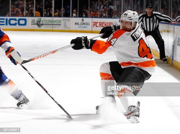 Kimmo Timonen of the Philadelphia Flyers skates against the New York Islanders at Nassau Veterans Memorial Coliseum on April 9 2013 in Uniondale New...
