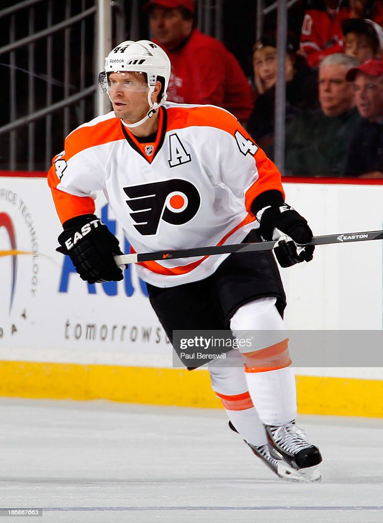 Kimmo Timonen #44 of the Philadelphia Flyers skates during an NHL hockey game against the New Jersey Devils at Prudential Center on November 2, 2013 in Newark, New Jersey.