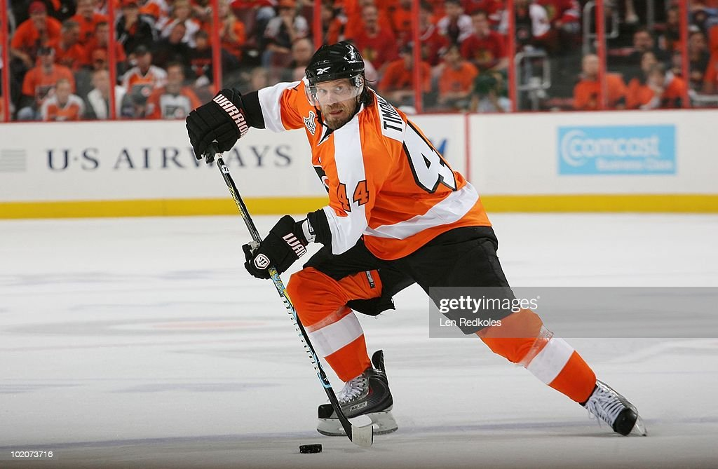Kimmo Timonen #44 of the Philadelphia Flyers skates with the puck against the Chicago Blackhawks in Game Six of the 2010 NHL Stanley Cup Final at the Wachovia Center on June 9, 2010 in Philadelphia, Pennsylvania.