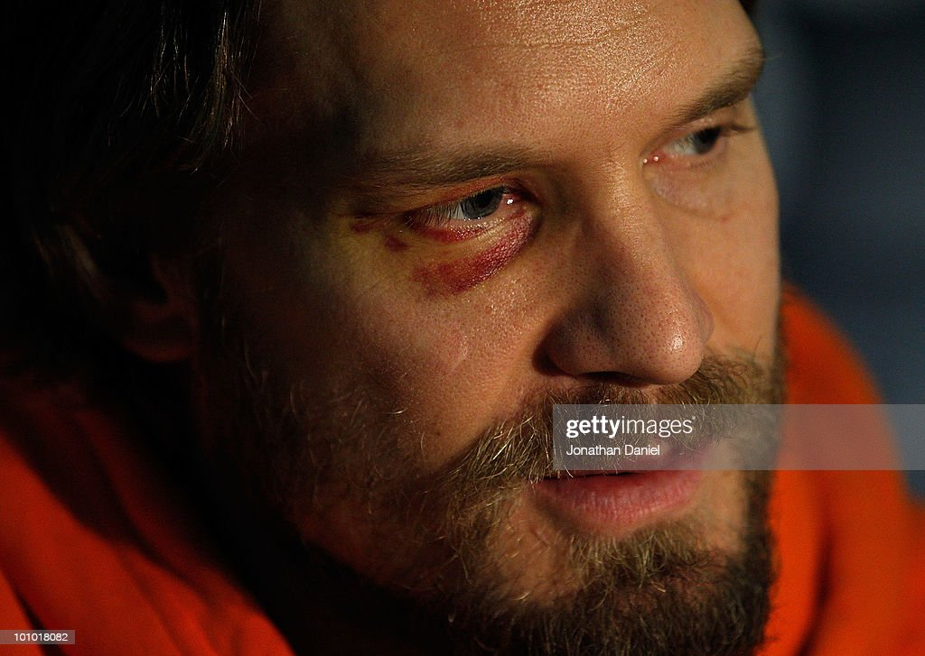Kimmo Timonen of the Philadelphia Flyers talks with reporters during Stanley Cup media day at the United Center on May 27, 2010 in Chicago, Illinois.