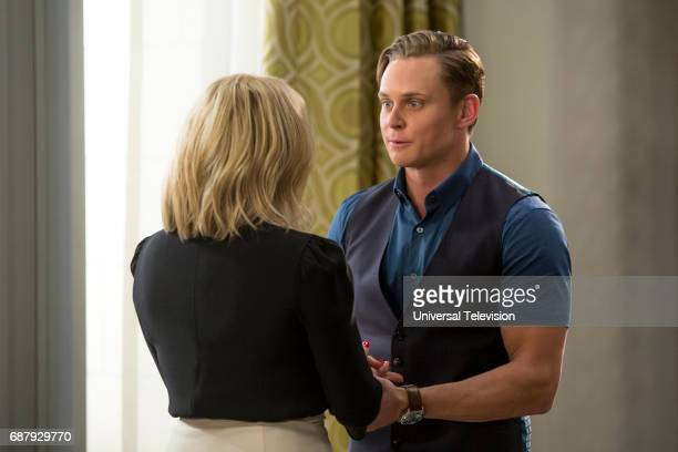SCHMIDT 'Kimmy and the Trolley Problem' Episode 312 Pictured Jane Krakowski as Jacqueline White Billy Magnussen as Russ Snyder