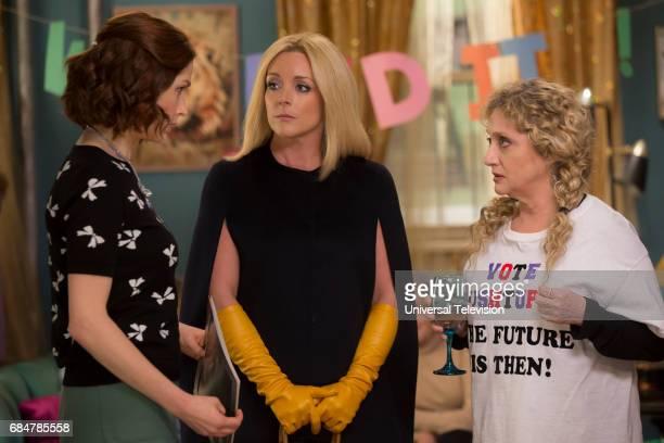 SCHMIDT 'Kimmy Gets Divorced' Episode 301 Pictured Ellie Kemper as Kimmy Schmidt Jane Krakowski as Jacqueline White Carol Kane as Lillian Kaushtupper