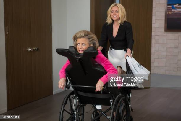 SCHMIDT 'Kimmy Googles the Internet' Episode 311 Pictured Amy Sedaris as Mimi Kanassis Jane Krakowski as Jacqueline White