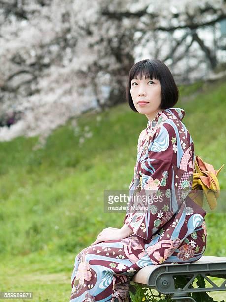Kimono Woman on Bench