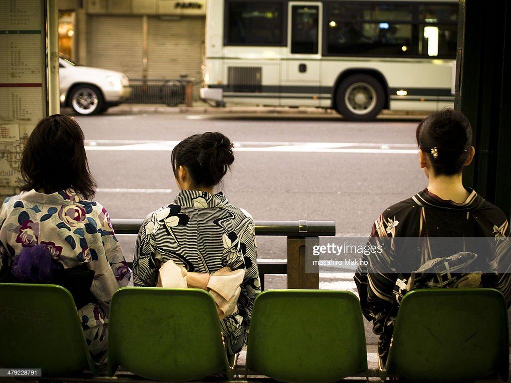 Kimono Women Waiting At Bus Stop : Stock Photo