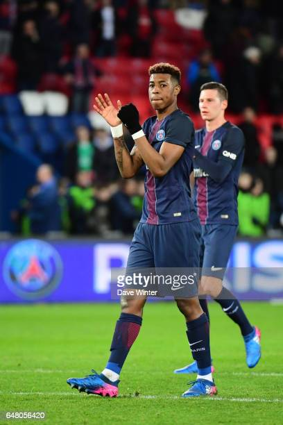 Kimpembe Presnel of PSG celebrates as his side wins the French Ligue 1 match between Paris Saint Germain and Nancy at Parc des Princes on March 4...