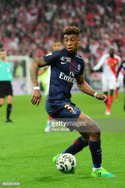 Kimpembe Presnel of PSG during the French League Cup Final between Paris Saint Germain and Monaco at Parc Olympique on April 1 2017 in Lyon France
