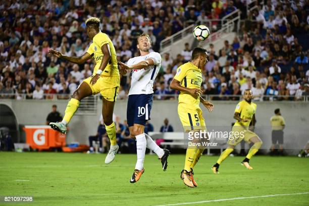 Kimpembe Presnel of PSG Harry Kane of Spurs Marquinhos of PSG and Daniel Dani Alves of PSG during the International Champions Cup match between Paris...