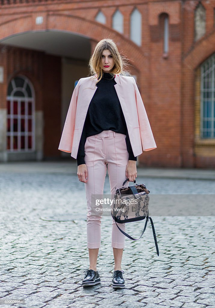 Kimyana Hachmann wearing a pink blazer and 7 8 pants from Valentine Gauthier black Forever 21 shoes black turtleneck sweater and vintage bag on April...