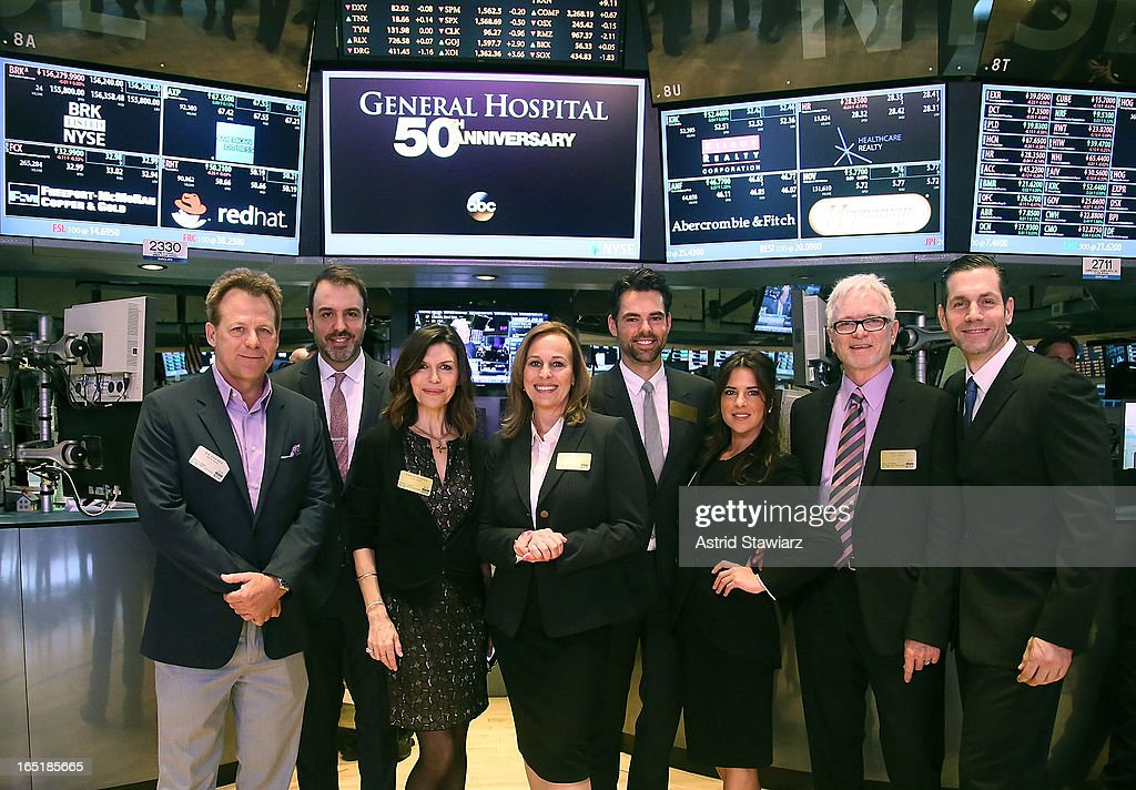 Kin Shriner, Ron Carlivati, Finola Hughes, Genie Francis, Jason Thompson, Kelly Monaco and Tony Geary of ABC's soap opera General Hospital ring the opening bell at the New York Stock Exchange on April 1, 2013 in New York City.