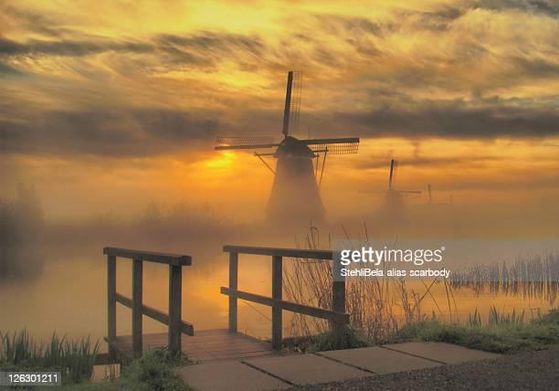 Kinderdijk windmill at sunrise