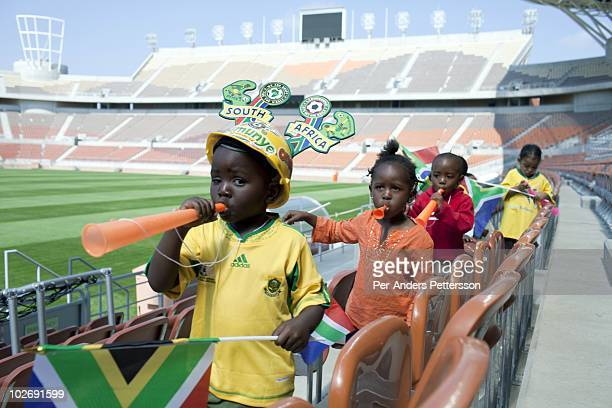 Kindergarden children visit the Peter Mokaba football stadium on May 3 in Polokwane South Africa The stadium has a capacity of 41 and its one of the...