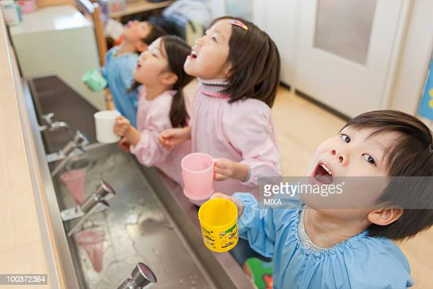 Kindergarten Children Gargling