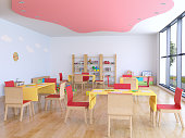 Kindergarten room with toys