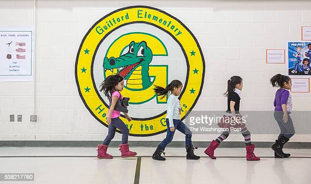 Kindergarten students at Guilford Elementary school run during PE class February 6 2015 The school system in Loudoun County one of the wealthiest...