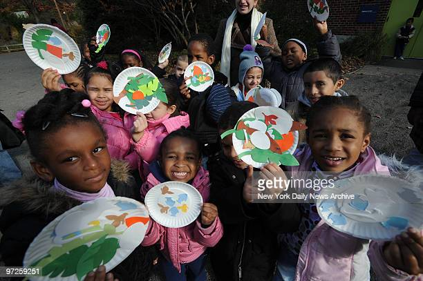 Kindergartners from Public School 188 in Coney Island show off Thanksgivingthemed art projects created during trip to Prospect Park Zoo which is open...