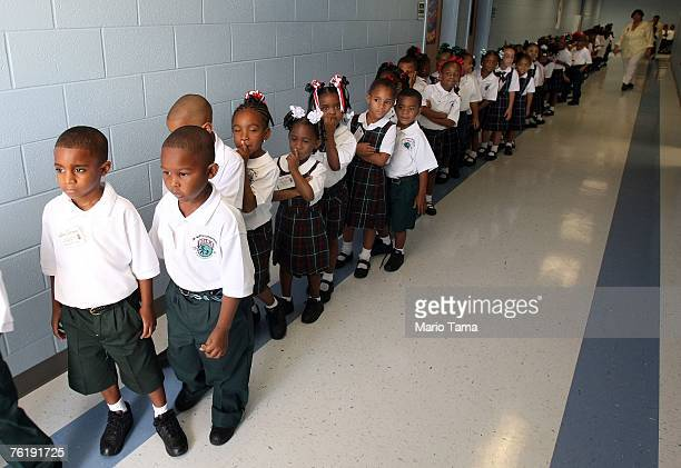 Kindergartners line up on their first day of school at Dr Martin Luther King Jr Charter School for Science and Technology in the Lower 9th Ward...