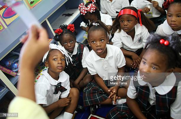 Kindergartners look at name cards on their first day of school at Dr Martin Luther King Jr Charter School for Science and Technology in the Lower 9th...