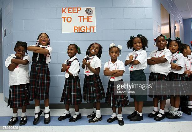 Kindergartners smile on their first day of school at Dr Martin Luther King Jr Charter School for Science and Technology in the Lower 9th Ward August...