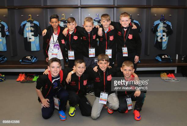 KinderSport Kids Cup Finalists Huncoat Primary in the Wycombe Wanderers dressing room