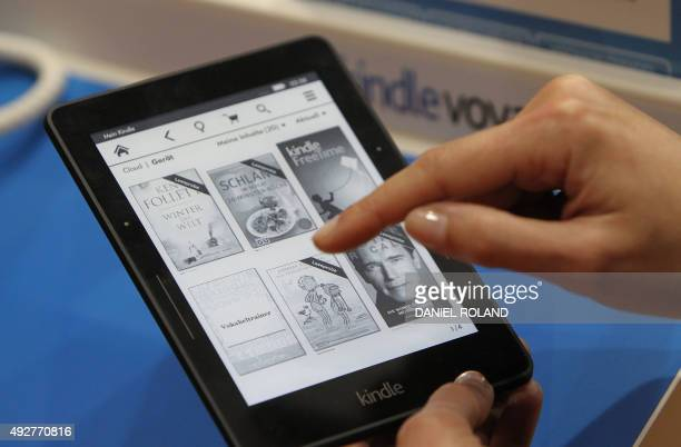 A kindle ebook reader is pictured at the Book Fair in Frankfurt Germany October 15 2015 AFP PHOTO / DANIEL ROLAND
