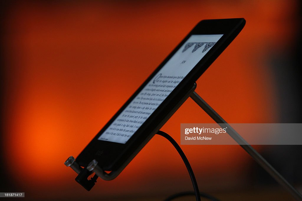 A Kindle Paperwhite reading device is seen at a press conference on September 6, 2012 in Santa Monica, California. Amazon unveiled the Kindle Paperwhite and the Kindle Fire HD in 7 and 8.9-inch sizes.