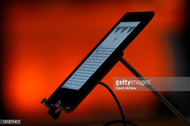 Kindle Paperwhite reading device is seen at a press conference on September 6 2012 in Santa Monica California Amazon unveiled the Kindle Paperwhite...