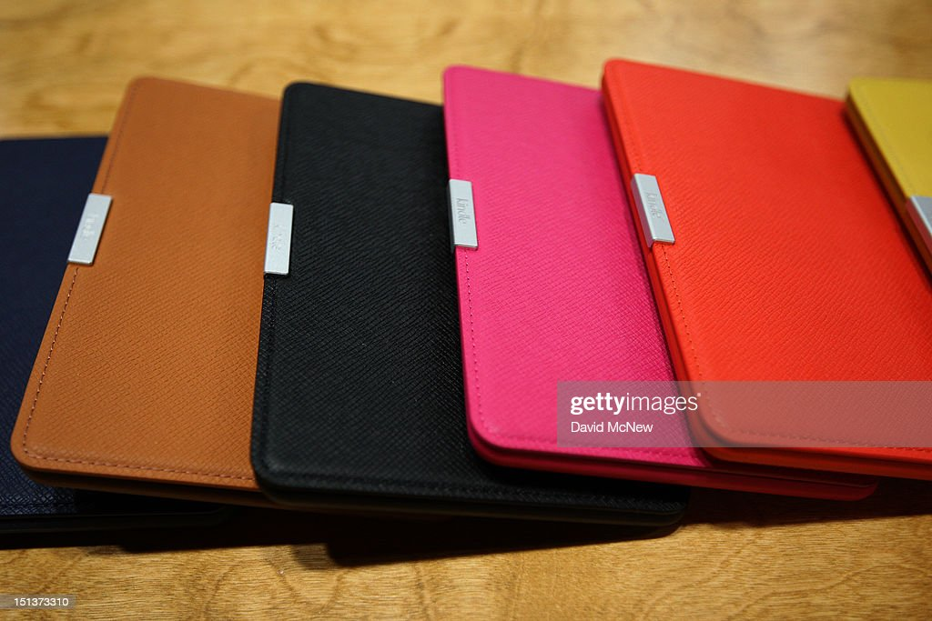 Kindle reading device covers are seen at a press conference on September 6, 2012 in Santa Monica, California. Amazon unveiled the Kindle Paperwhite and the Kindle Fire HD in 7 and 8.9-inch sizes.