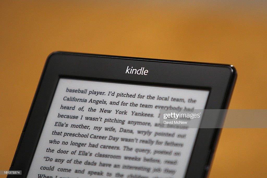 Kindle reading device is seen at a press conference on September 6, 2012 in Santa Monica, California. Amazon unveiled the Kindle Paperwhite and the Kindle Fire HD in 7 and 8.9-inch sizes.
