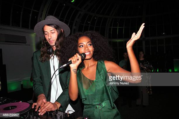 DJ Kindness and Solange Knowles perform at the 'You've Got To Be Seen Green' Party at the Brooklyn Botanical Gardens on September 15 2015 in Brooklyn...