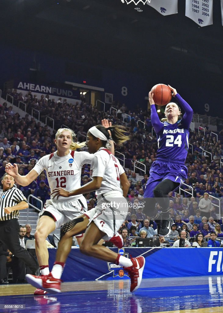 Kindred Wesemann #24 of the Kansas State Wildcats drives in for a basket against the Stanford Cardinal during the second round of the 2017 NCAA Women's Basketball Tournament at Bramlage Coliseum on March 20, 2017 in Manhattan, Kansas.