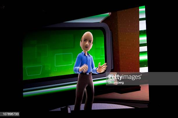 A Kinect avatar for Steve Ballmer chief executive officer of Microsoft Corp is seen as he delivers his keynote address during the 2011 International...
