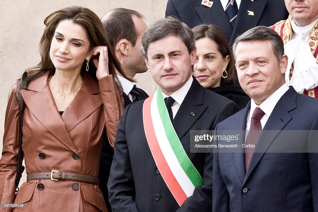 King Abdallah II and Queen Rania of Jordan meet Major of Rome Gianni Alemanno at Rome's Capitolium during their visit in Italy