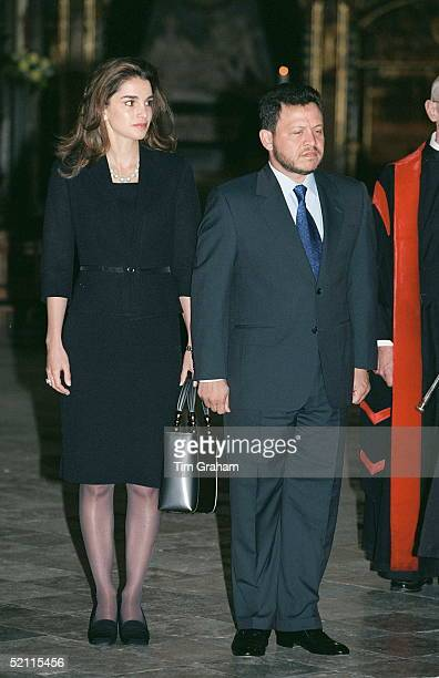 King Abdullah And Queen Rania Of Jordan In Westminster Abbey To Lay A Wreath At The Tomb Of The Unknown Soldier