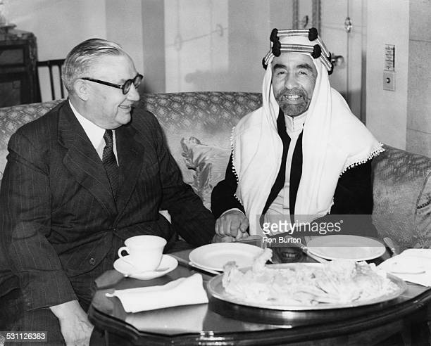 King Abdullah I of Jordan in conference with British Foreign Secretary Ernest Bevin at the Hyde Park Hotel in London 22nd August 1949