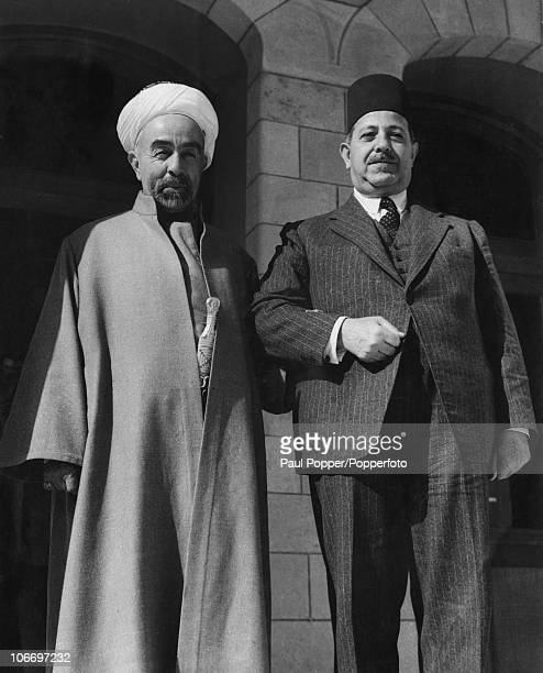 King Abdullah I of Transjordan with Egyptian Prime Minister Mahmoud Fahmi anNukrashi Pasha at Raghadan Palace in Amman Jordan 27th October 1948...