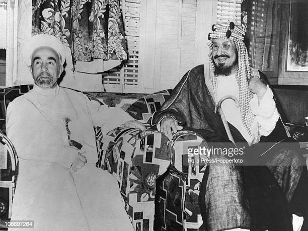 King Abdullah I of Transjordan with King Ibn Saud of Saudi Arabia in Riyadh Saudi Arabia 2nd July 1948 Amicable relations have been restored for the...