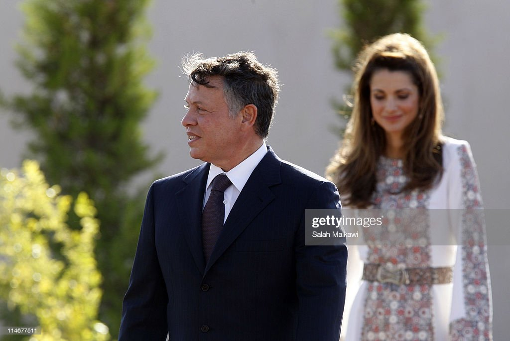 King Abdullah II and Queen Rania of Jordan arrive at an official celebration for the 65th anniversary of Independence, on May 25, 2011 in Amman, Jordan. The Hashemite Kingdom of Jordan gained independence from Britain on May 25, 1946.
