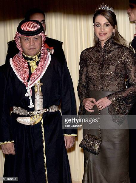 King Abdullah II And Queen Rania Of Jordan At A Banquet At Spencer House In London During Their State Visit King Abdullah Is Wearing Traditional Arab...